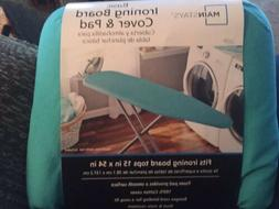 MAINSTAYS BASIC IRONING BOARD COVER & PAD - NEW TEAL SPLASH