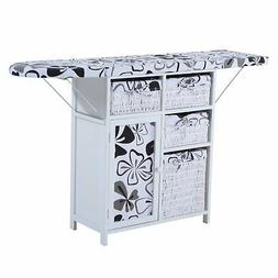Collapsible Drop Leaf Ironing Board And Shelving Unit With F