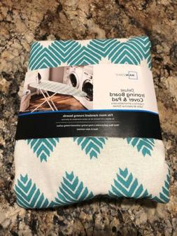 Mainstays Deluxe Ironing Board Cover and Pad Aqua/Teal Chevr