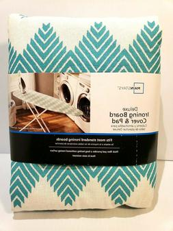 Deluxe Ironing Board Cover & Pad by Mainstays Pattern Teal C