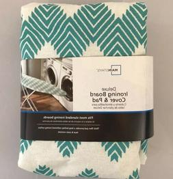 Mainstays Deluxe Ironing Board Cover & Pad Teal Chevron