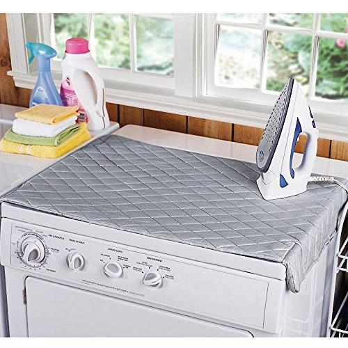 Houseables Magnetic Mat Laundry Gray, Quilted, Heat Resistant Iron Board