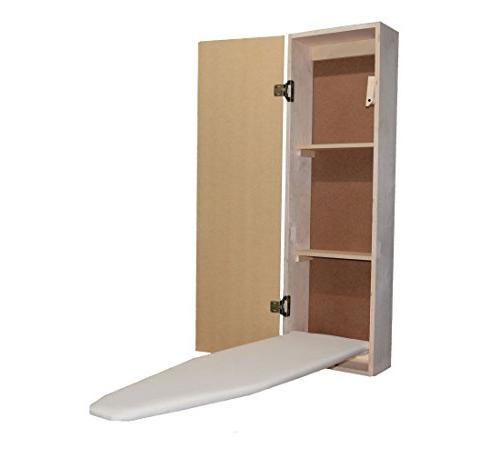 USAFlagCases Built-in Ironing Board Cabinet Raw Wood, Iron S
