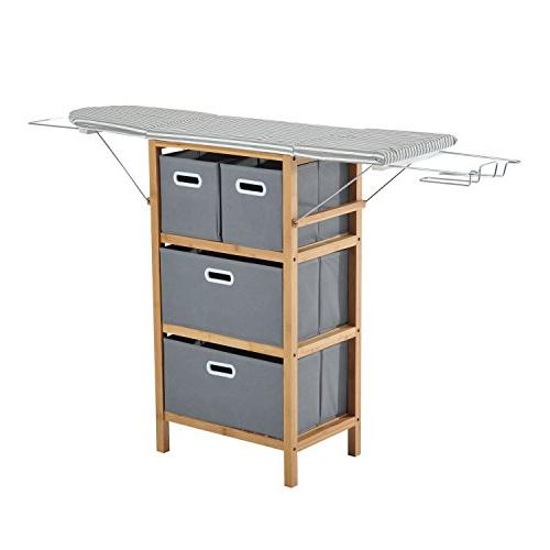 collapsible ironing board shelving unit