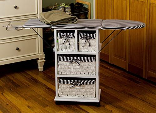 Corner Folding Ironing Center with Metal Rest and