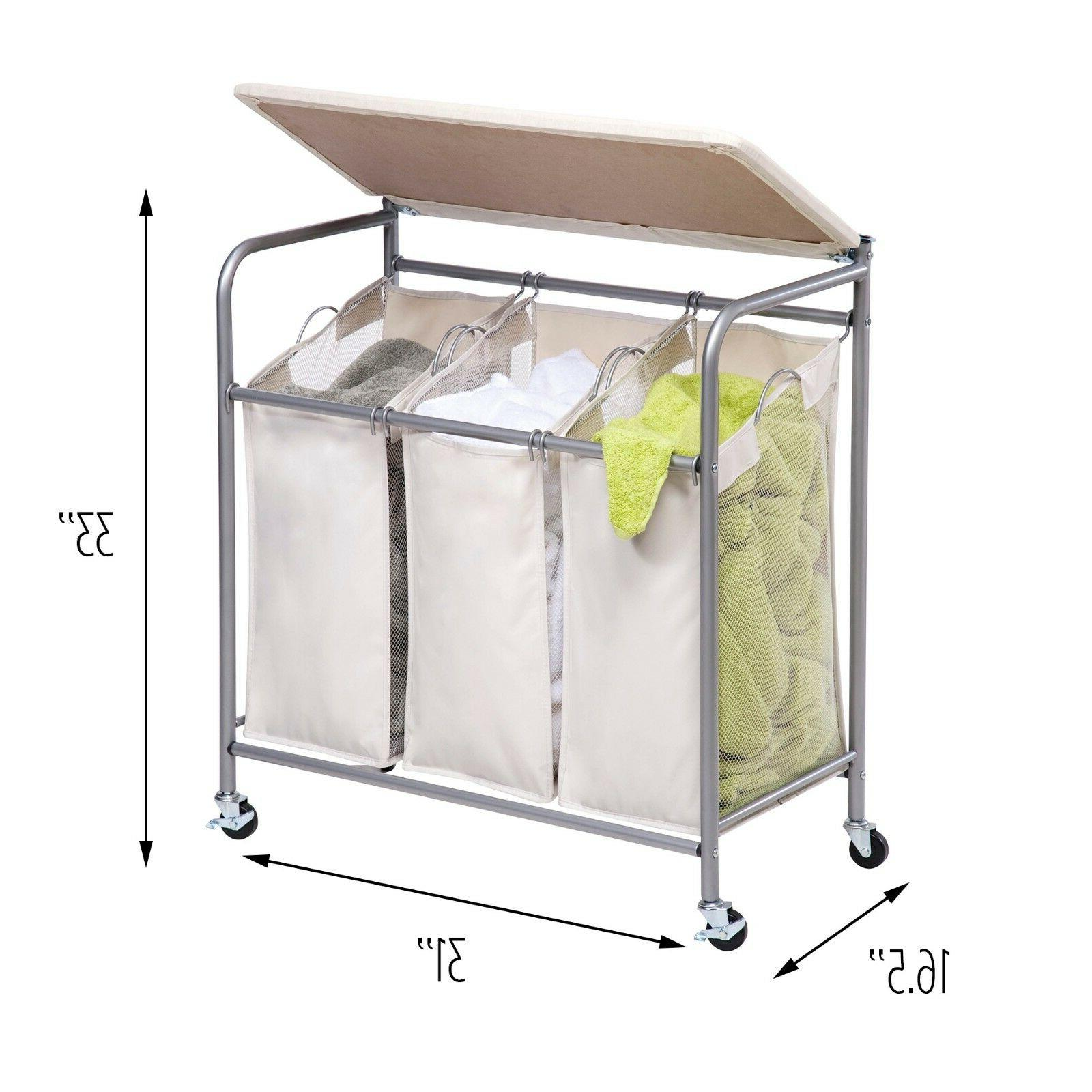 ironing board and laundry sorter combo beige