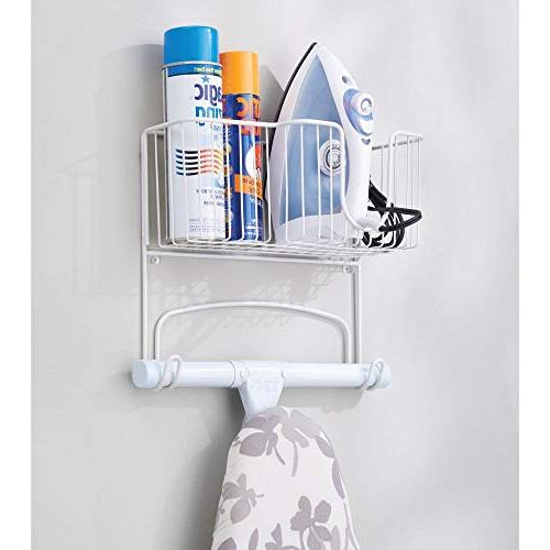 mDesign Metal Wall Ironing Holder Large Holds Iron, Board, Bottles, Starch, for Laundry Rooms - White