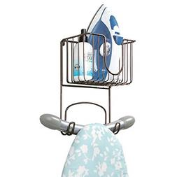 mDesign Wall Mount Metal Ironing Board Holder with Small Sto