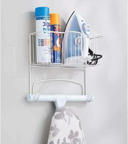 mDesign Metal Wall Mount Ironing Board Holder with Large Sto
