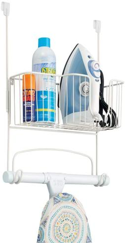 Mdesign Metal Over Door Ironing Board Holder With Large Stor
