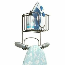 mDesign Metal Wall Mount Ironing Board Holder with Small Sto