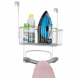 mDesign Over Door Hangin Ironing Board Holder with Large Sto