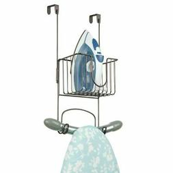 mDesign Over The Door Wire Metal Ironing Board Holder with S