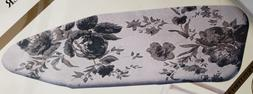 Padded Ironing Board Cover & Pad, LARGE FLOWERS ON GREY  by