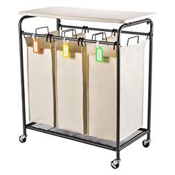 Sunix Rolling Laundry Sorter, 3 Heavy-Duty Bag Laundry Cart